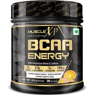 MuscleXP BCAA Energy With Electrolyte Blend  Caffeine, Orange, 400g (14 oz) - 28 Servings