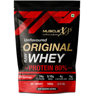 MuscleXP Raw Whey Protein Concentrate 80 Powder, Unflavored, 1Kg (2.2lb)
