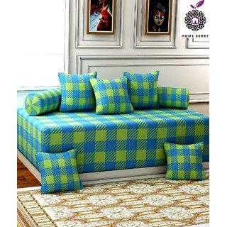 Home Berry Green Checks Ultra Soft Diwan Set ( 8 Piece Set ) FLP-DWN-24