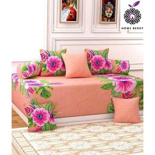 Home Berry Beige Floral Ultra Soft Diwan Set ( 8 Piece Set ) FLP-DWN-14
