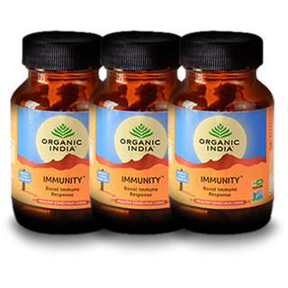 Organic India Immunity 60 Pc Capsules Bottle (Pack 0f 3)