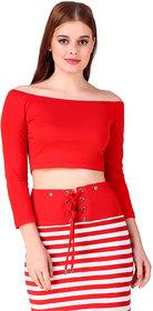 Texco Red Off Shoulder Women Crop Top