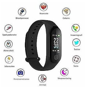 M3 Black Health Fitness Band with Heart Rate Sensor, Pedometer and Sleep Monitoring