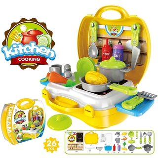 Kitchen Cooking Set Suitcase Colorful Toy For Kids - 26 Pcs