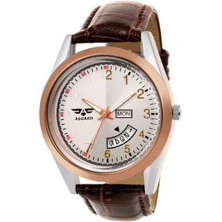 ASGARD Day N Date Feature Brown Strap Watch-DD-22