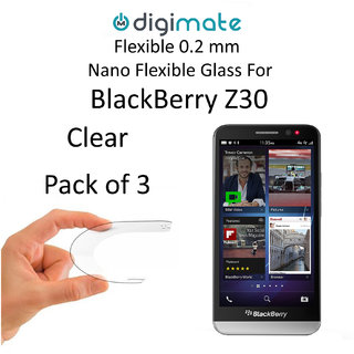 Digimate Nano Clear 0.2 mm Screen Guard Protector Flexible Glass for Blackberry Z30  Pack of 3