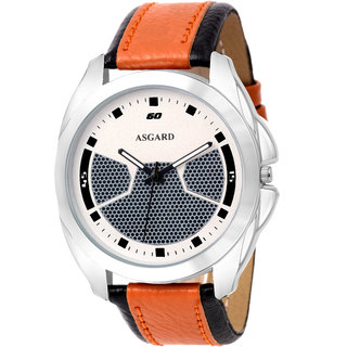 ASGARD Silver Dial Brown Watch For Men Boys-210
