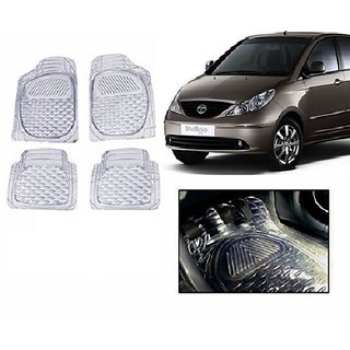 Kunjzone Clear Transparent  Car Floor/Foot Mat Set Of 4 For Tata Indigo