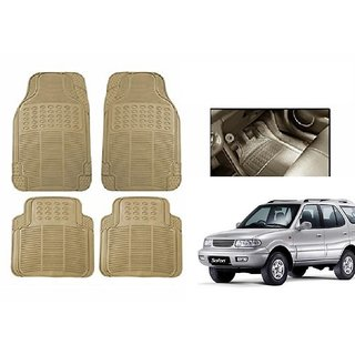 Kunjzone Rubber Car Floor / Foot  Mats Set Of 4 Beige For Tata Safari