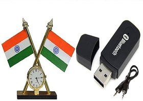 Combo of Indian Flag With Clock and Car bluetooth Device