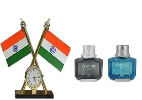 love4ride Carpoint Combo of Indian Flag With Clock And Concept Car Air Freshener Perfume (Single Perfume - Assorted Color)
