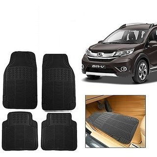 Kunjzone Rubber Car Floor / Foot  Mats Set Of 4 Black  For Honda BRV