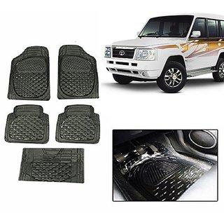 Kunjzone Smoke Transparent  Car Floor/Foot Mat Set Of 5 For Tata Sumo