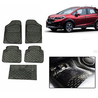 Kunjzone Smoke Transparent  Car Floor/Foot Mat Set Of 5 For Honda WRV