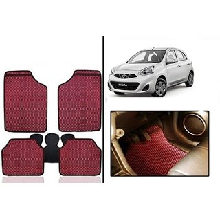 Kunjzone Red Odourless Car Floor / Foot  Mat Set Of 5 For Nissan Micra