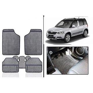 Kunjzone Grey Odourless Car Floor / Foot  Mat Set Of 5 For Skoda Yeti