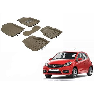Kunjzone 4D Crocodile Style Beige Car Floor/Foot Mats For Honda Brio