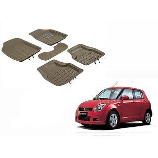 Kunjzone 4D Crocodile Style Beige Car Floor/Foot Mats For Maruti Swift type 1 type 1