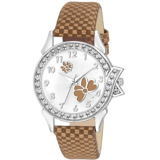 MF 856 Brown Strap Color White Dial Butterfly Design Watch Collection For Women And Girl