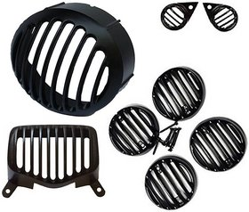 Customized Bullet Standard Set-(Head Light,Tail Light,Indicator,Parking) Bike Headlight Grill (Black)