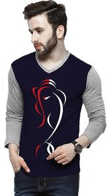 29K Men's Ganesh Navy  Grey Milanch Full Sleevs V. Neck T- shirt