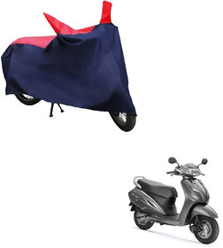 AutoRetail Two Wheeler Polyster Cover for Honda Activa 3G with Mirror Pocket (Red and Blue Color)