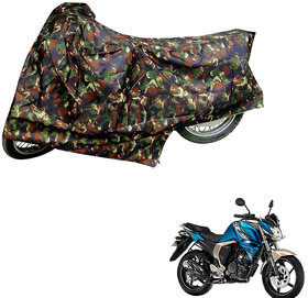 AutoRetail Weather Resistant Two Wheeler Polyster Cover for Yamaha FZ S Ver 2.0 (Mirror Pocket, Jungle Color)