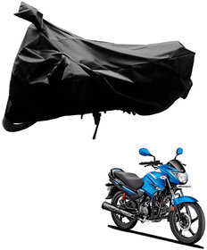 AutoRetail Dust Proof Two Wheeler Polyster Cover for Hero Glamour Fi (Mirror Pocket, Black Color)