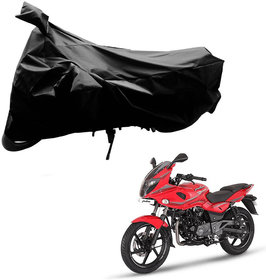 AutoRetail Water Resistant Two Wheeler Polyster Cover for Bajaj Pulsar 220 F (Mirror Pocket, Black Color)