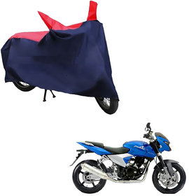 AutoRetail Weather Resistant Two Wheeler Polyster Cover for Bajaj Pulsar 150 DTS-i (Mirror Pocket, Red and Blue Color)