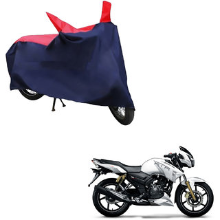 AutoRetail Weather Resistant Two Wheeler Polyster Cover for TVS Apache RTR 180 (Mirror Pocket, Red and Blue Color)
