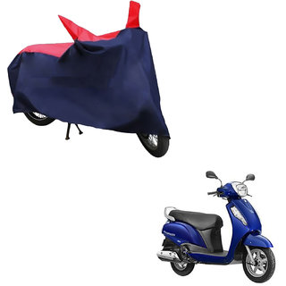 AutoRetail Water Resistant Two Wheeler Polyster Cover for Suzuki Access (Mirror Pocket, Red and Blue Color)