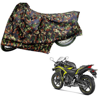 AutoRetail Weather Resistant Two Wheeler Polyster Cover for Honda CBR 250R (Mirror Pocket, Jungle Color)