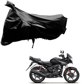 AutoRetail Custom Made Two Wheeler Polyster Cover for Hero Ignitor (Mirror Pocket, Black Color)