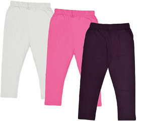 IndiWeaves Girls Cotton Solid 3/4th Pants Capri (Pack of 3)
