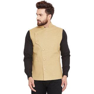 Hpernation Beige Cotton Solid Waistcoat for Men