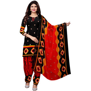 88f85d1df188 Buy Swaron Black and Red Crepe Bandhani Printed Unstitched Dress Material  Online - Get 72% Off