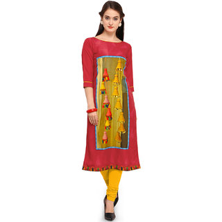 SHOPONBIT present Digital print with bell design pink color fabric Royal Crepe kurti for women's in ethnic wear SHKU32