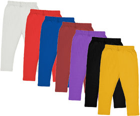 IndiWeaves Girls Cotton Solid 3/4th Pants Capri (Pack of 7)