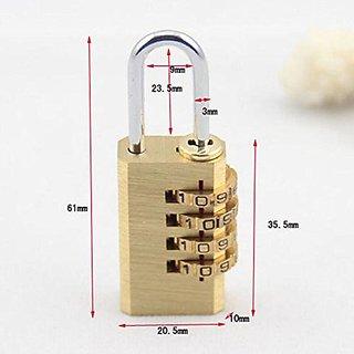 Metal 4-Digit Combination Padlock Set with Free Metal Number Lock (Gold, Pack of 2)