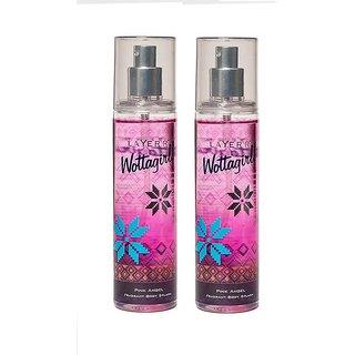Wottagirl Pink Angel Perfume Body Spray Pack of 2 Combo 135ML each 270ML