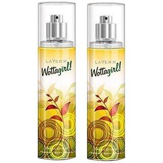 Wottagirl Fresh Citrus Perfume Body Spray Pack of 2 Combo 135ML each 270ML