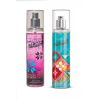 Wottagirl Pink Angel and Pure Paradise Perfume Body Spray Pack of 2 Combo 135ML each 270ML