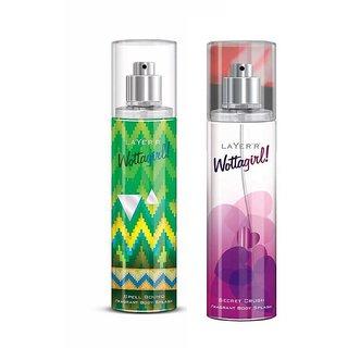 Wottagirl Spell Bound and Secret Crush Perfume Body Spray Pack of 2 Combo 135ML each 270ML