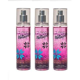 Wottagirl Pink Angel Perfume Body Spray Pack of 3 Combo 135ML each 405ML