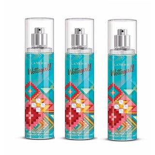 Wottagirl Pure Paradise Perfume Body Spray Pack of 3 Combo 135ML each 405ML