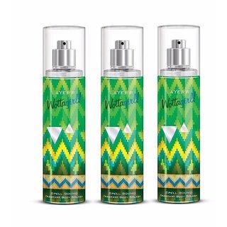 Wottagirl Spell Bound Perfume Body Spray Pack of 3 Combo 135ML each 405ML