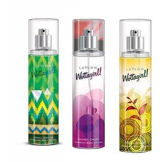 Wottagirl Spell Bound Secret Crush and Fresh Citrus Perfume Body Spray Pack of 3 Combo 135ML each 405ML