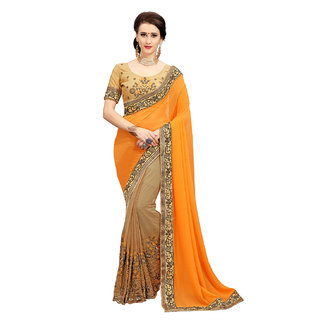 Meia Embroidered Bollywood Georgette Orange Saree