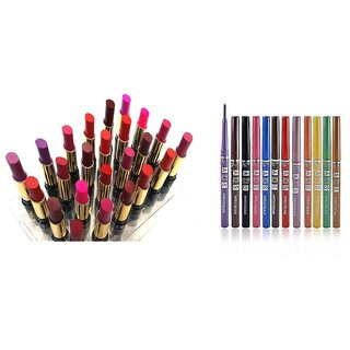 NYN 24 LIPSTICK AND ADS LIP LINER 12 PCS COMBO IN DIFFERENT SHADES